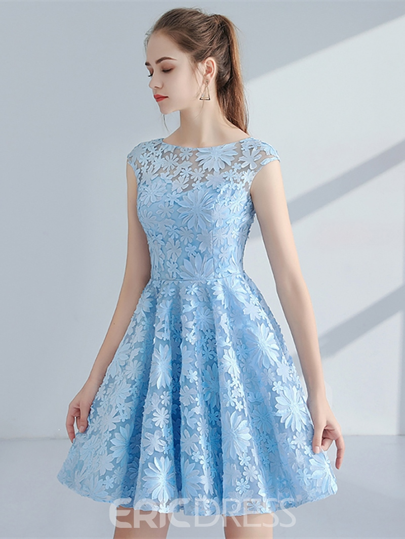 Ericdress A-Line Cap Sleeves Knee-Length Lace Homecoming Dress