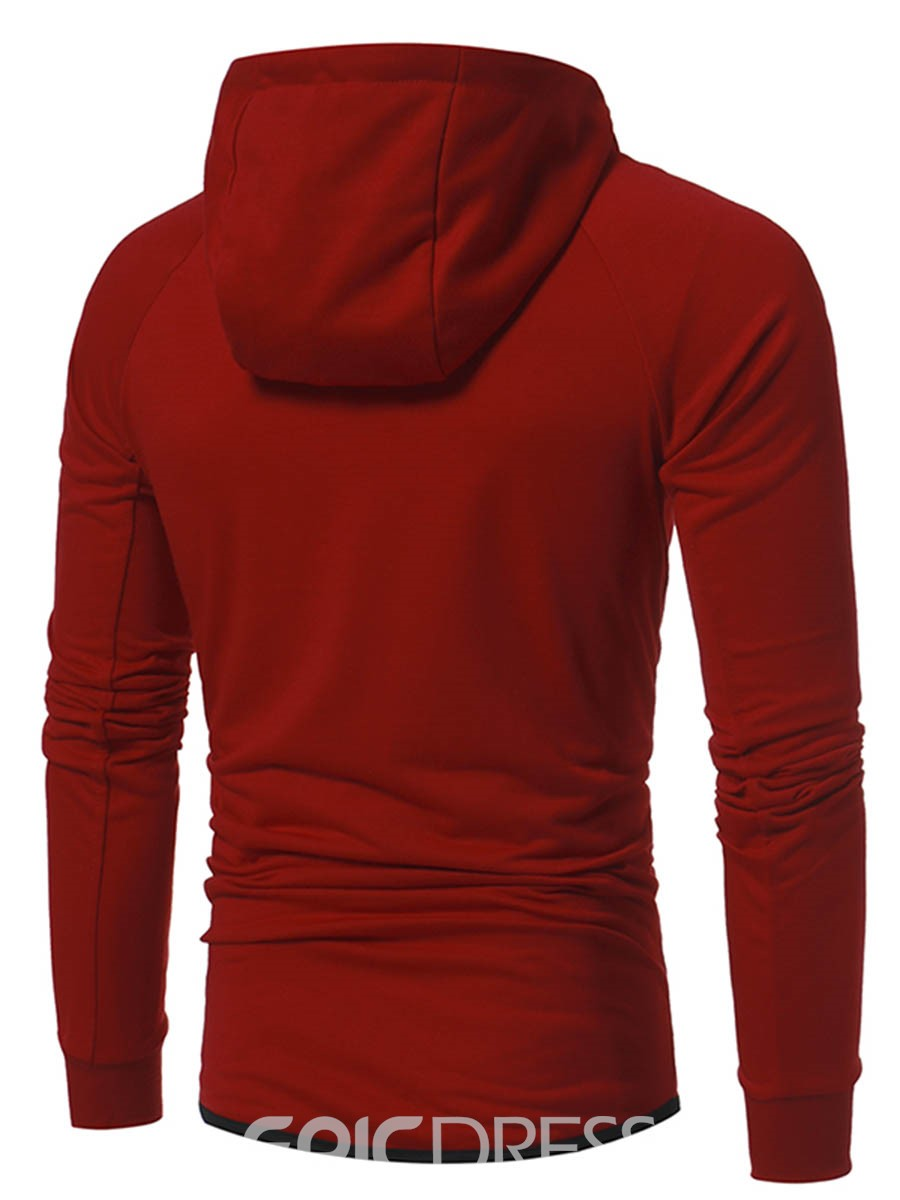 Ericdress Zipper Patchwork Hooded Men's Hoodie