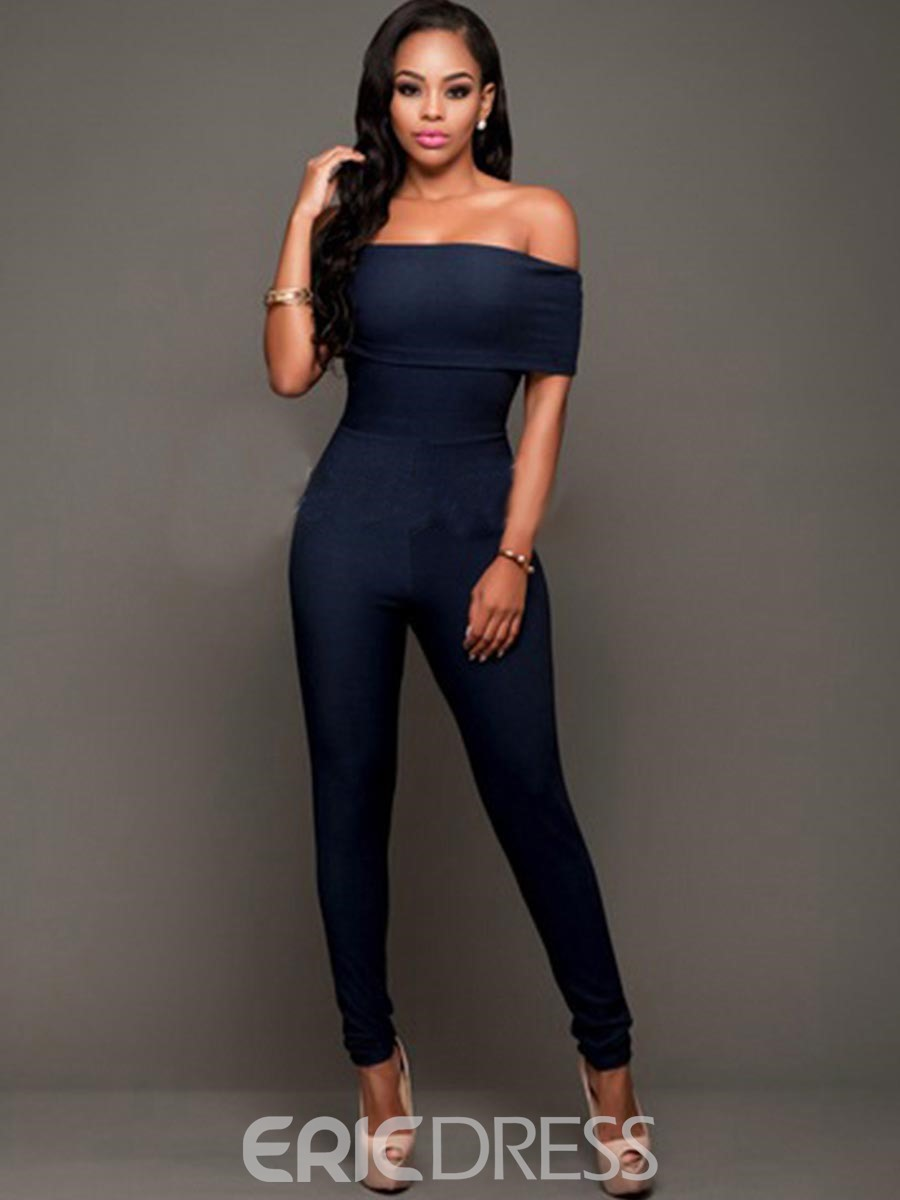 Ericdress Slash Neck Pencil Pants Jumpsuit