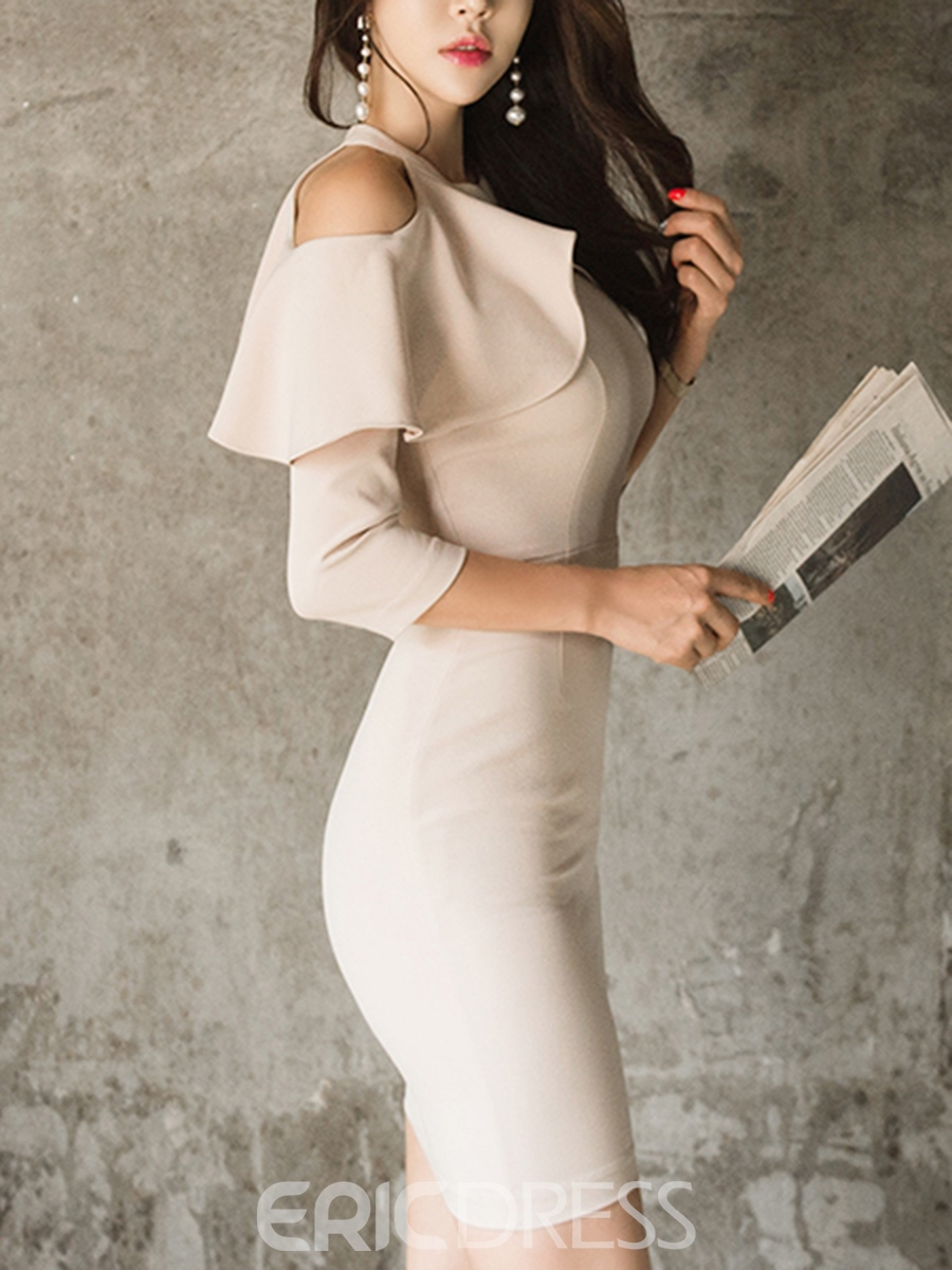 Ericdress Cold-Shoulder 3/4 Length Sleeves Ruffles Plain Bodycon Dress