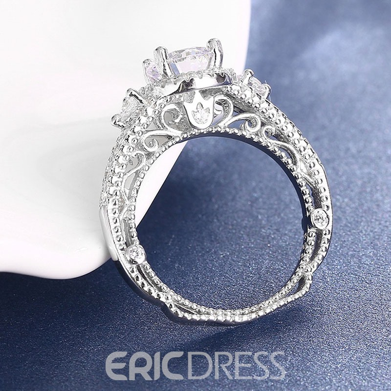 MarkChic New Style Hollow Out Rouond Cut Wedding Ring