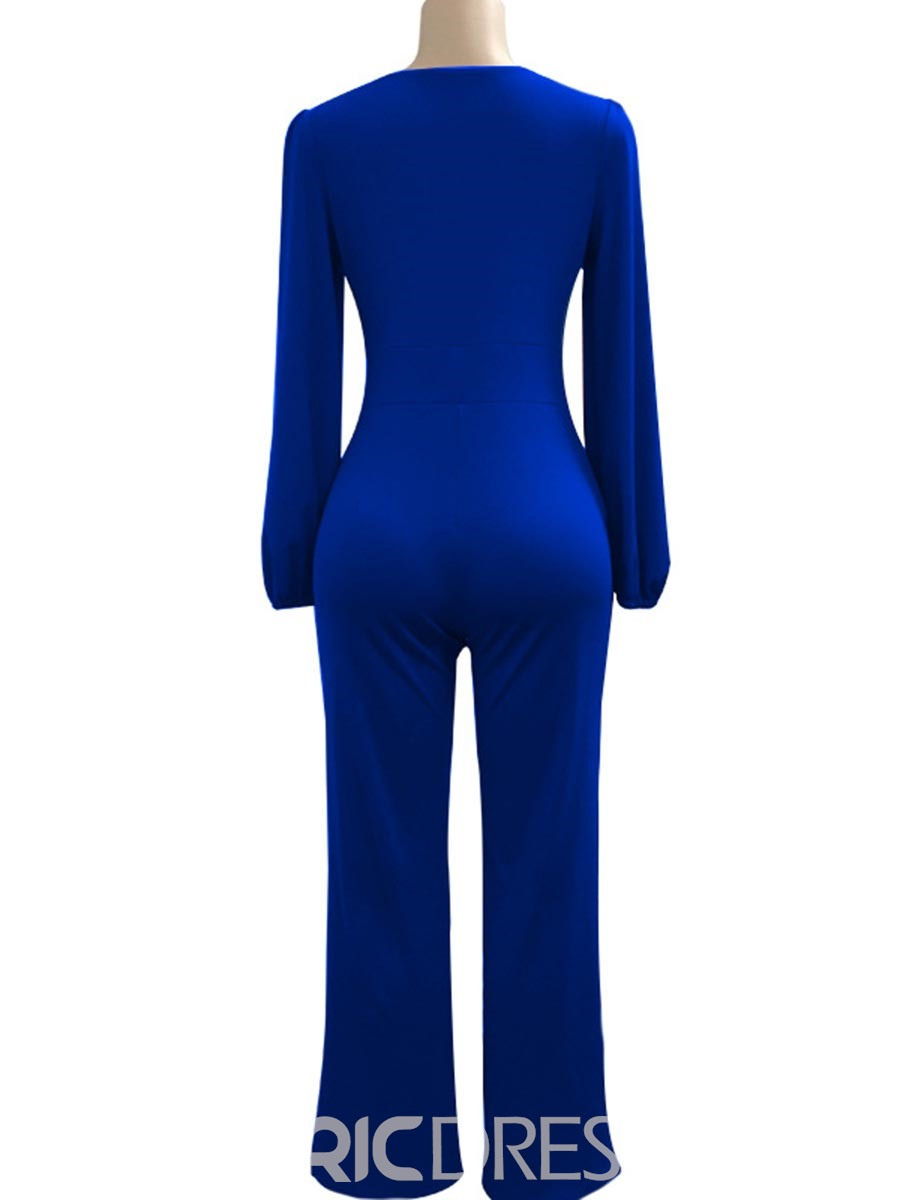 Ericdress V-neck Lace-Up Long Sleeve Jumpsuits Pants