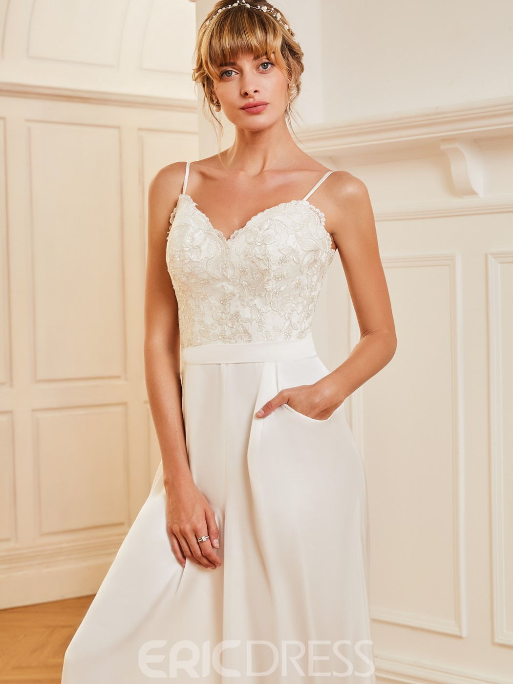 Ericdress Spaghetti Straps Appliques Wedding Jumpsuit