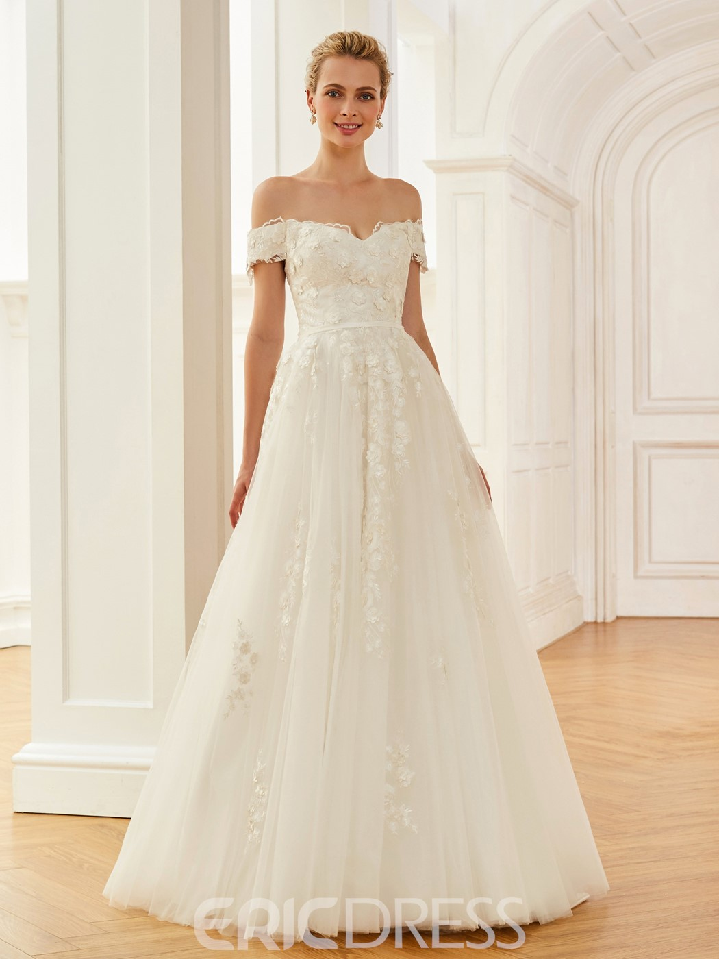Ericdress Off The Shoulder Ball Gown Appliques Tulle Wedding Dress