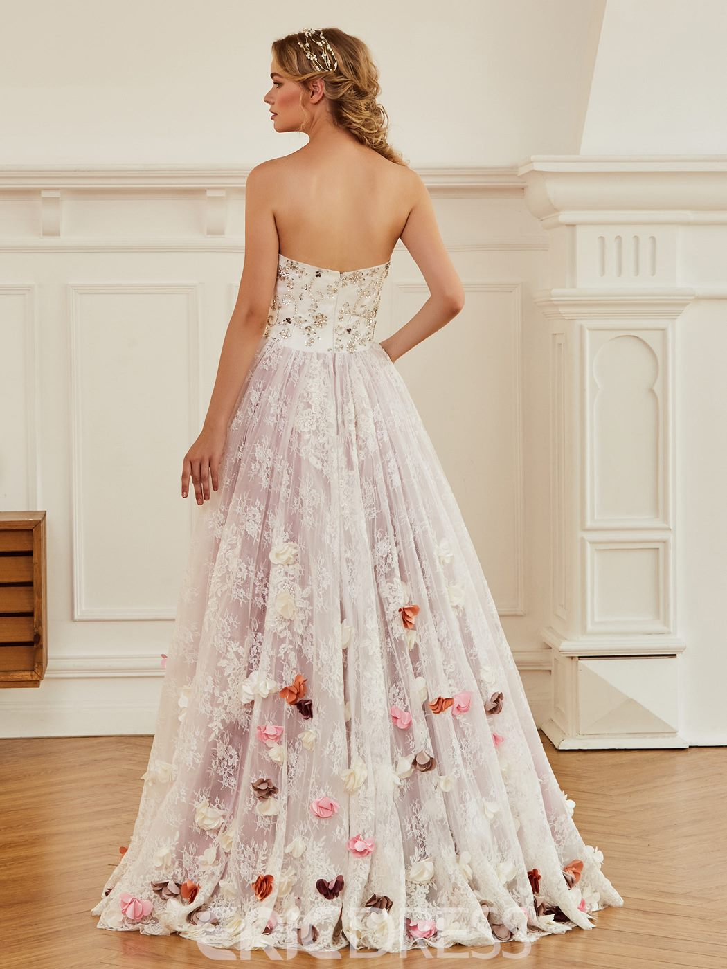 Ericdress Sweetheart Ball Gown Flowers Color Wedding Dress