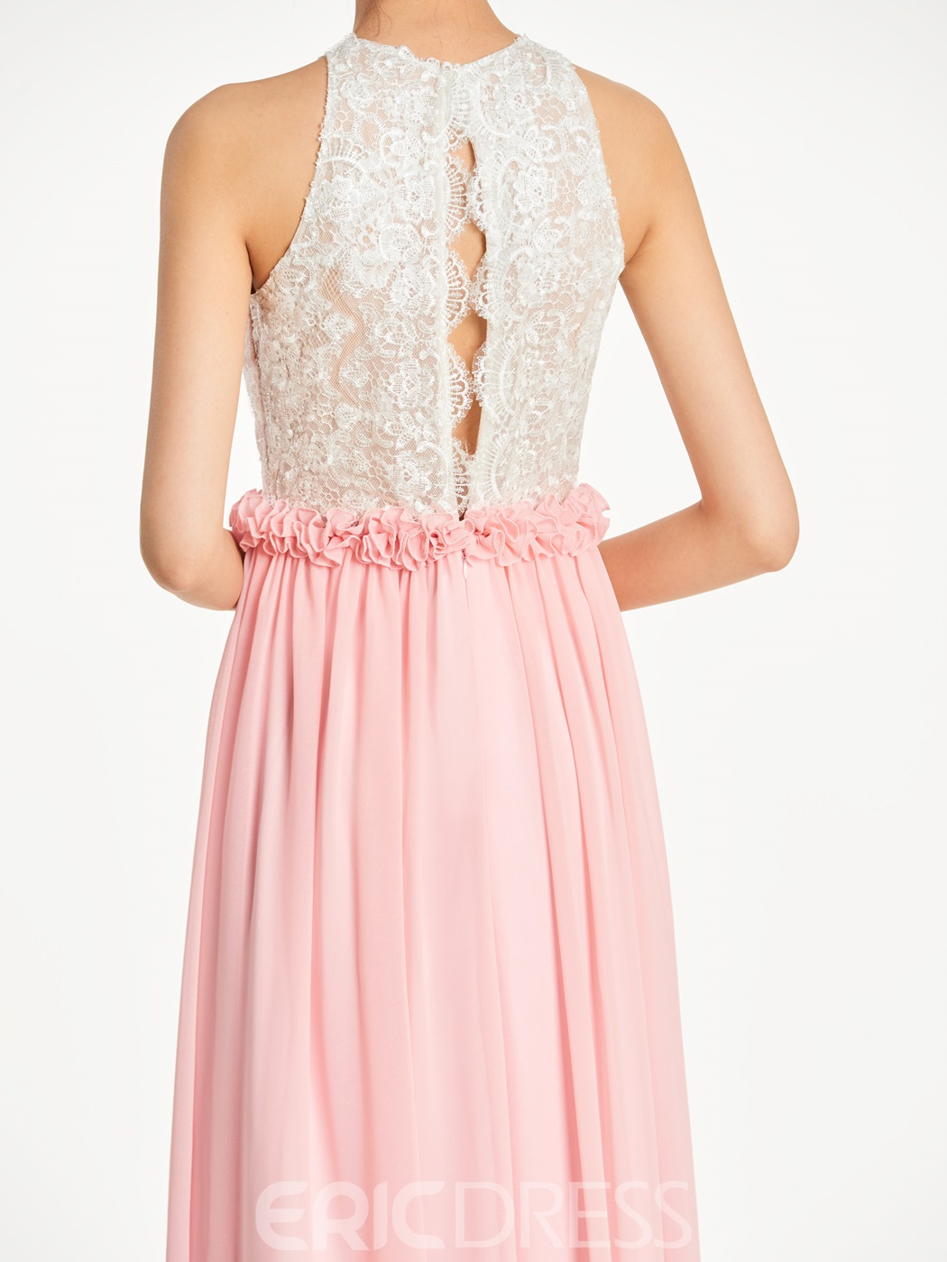 Ericdress Halter A Line Lace Long Bridesmaid Dress