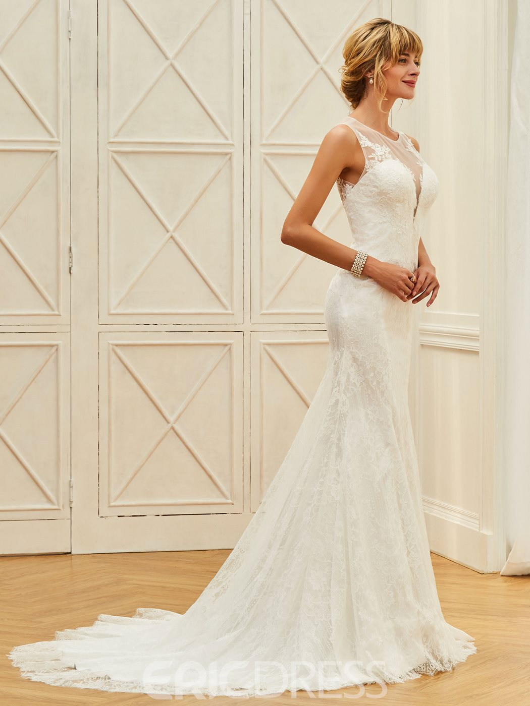 Ericdress Illusion Neckline Lace Mermaid Button Wedding Dress