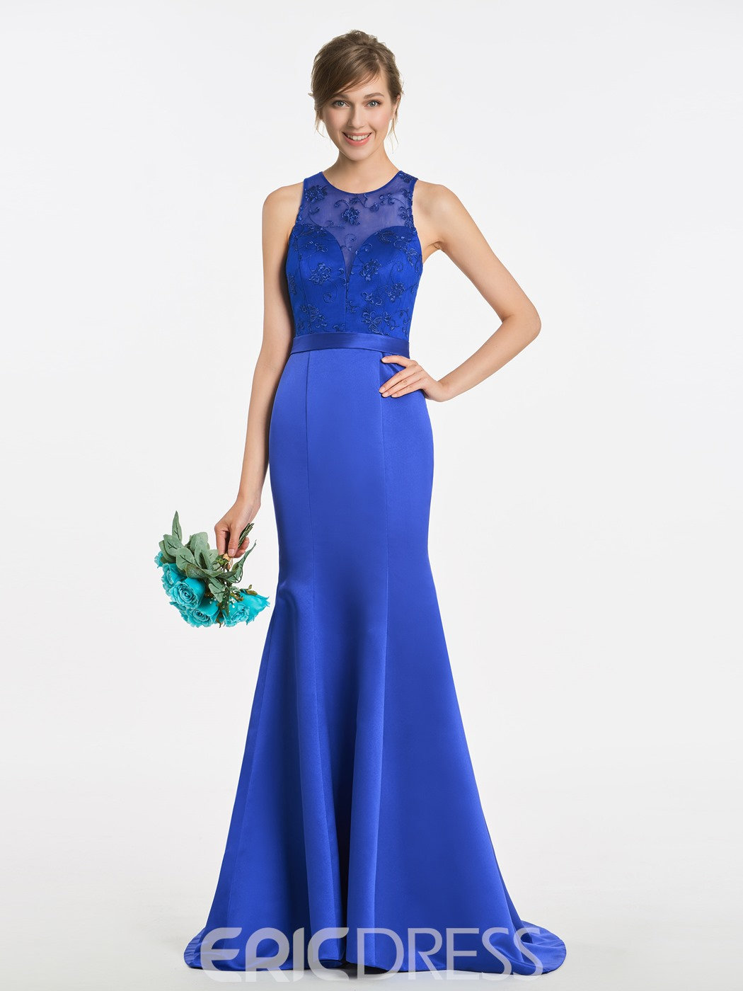 Ericdress Mermaid Lace Long Matte Satin Bridesmaid Dress