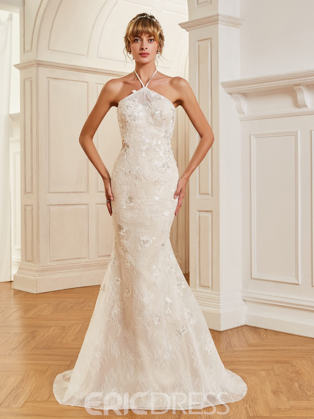 Ericdress Halter Mermaid Lace Sweep Train Wedding Dress 12968761 ...