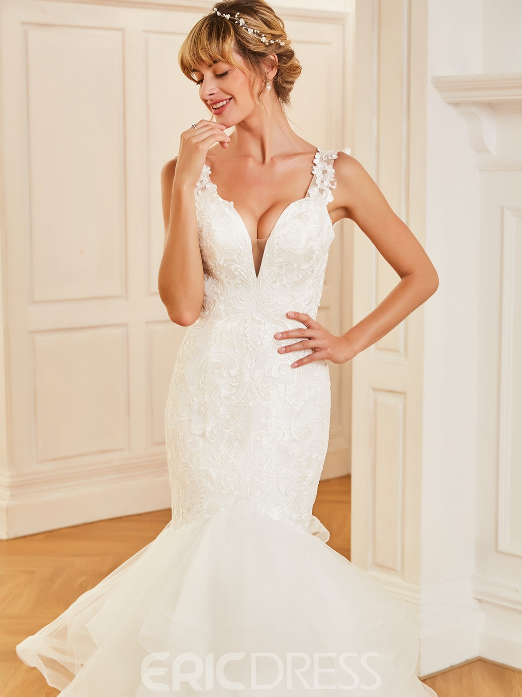 Ericdress Straps Mermaid Appliques Backless Wedding Dress