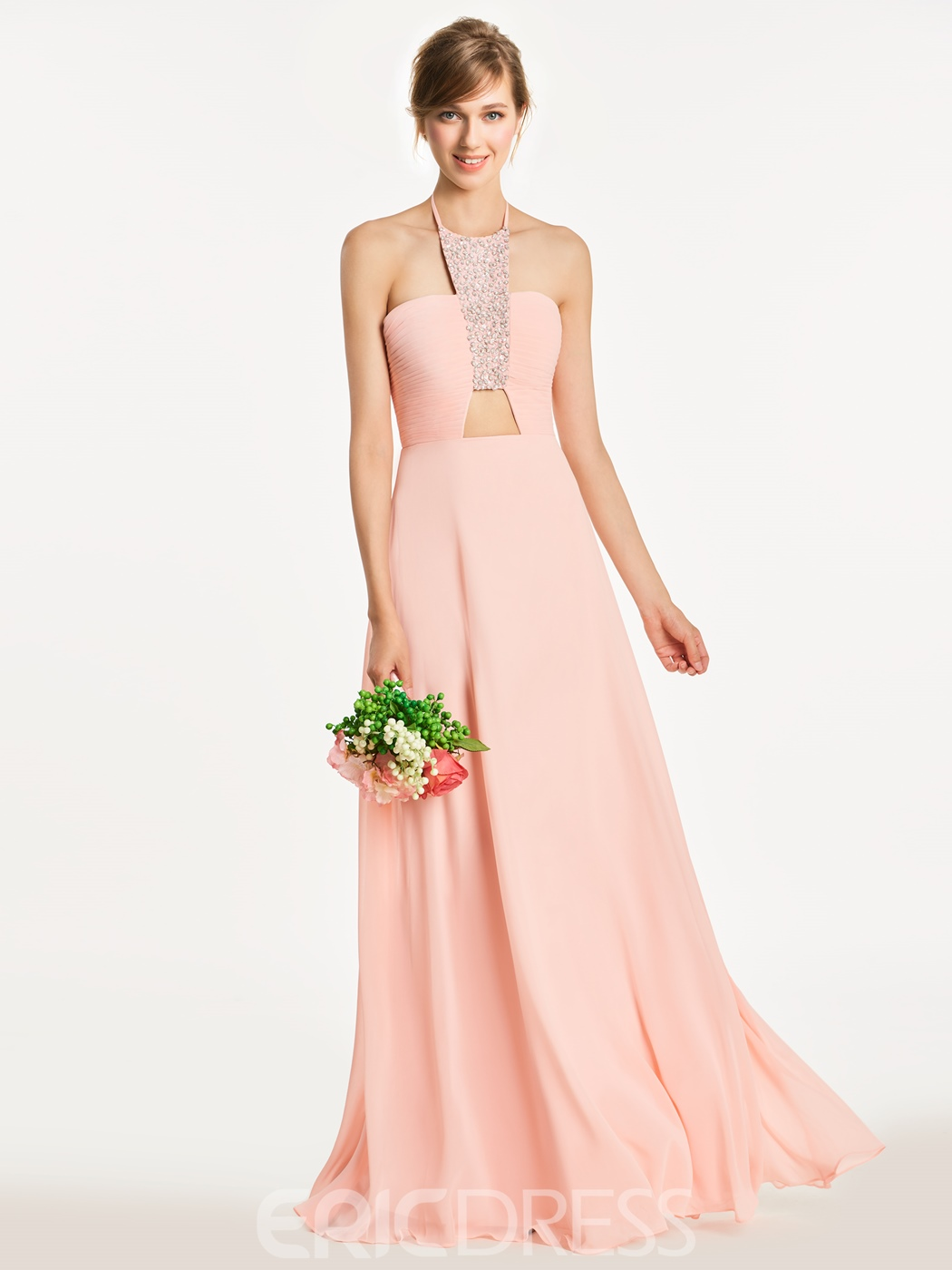 Ericdress Halter Hollow Beaded Long Bridesmaid Dress