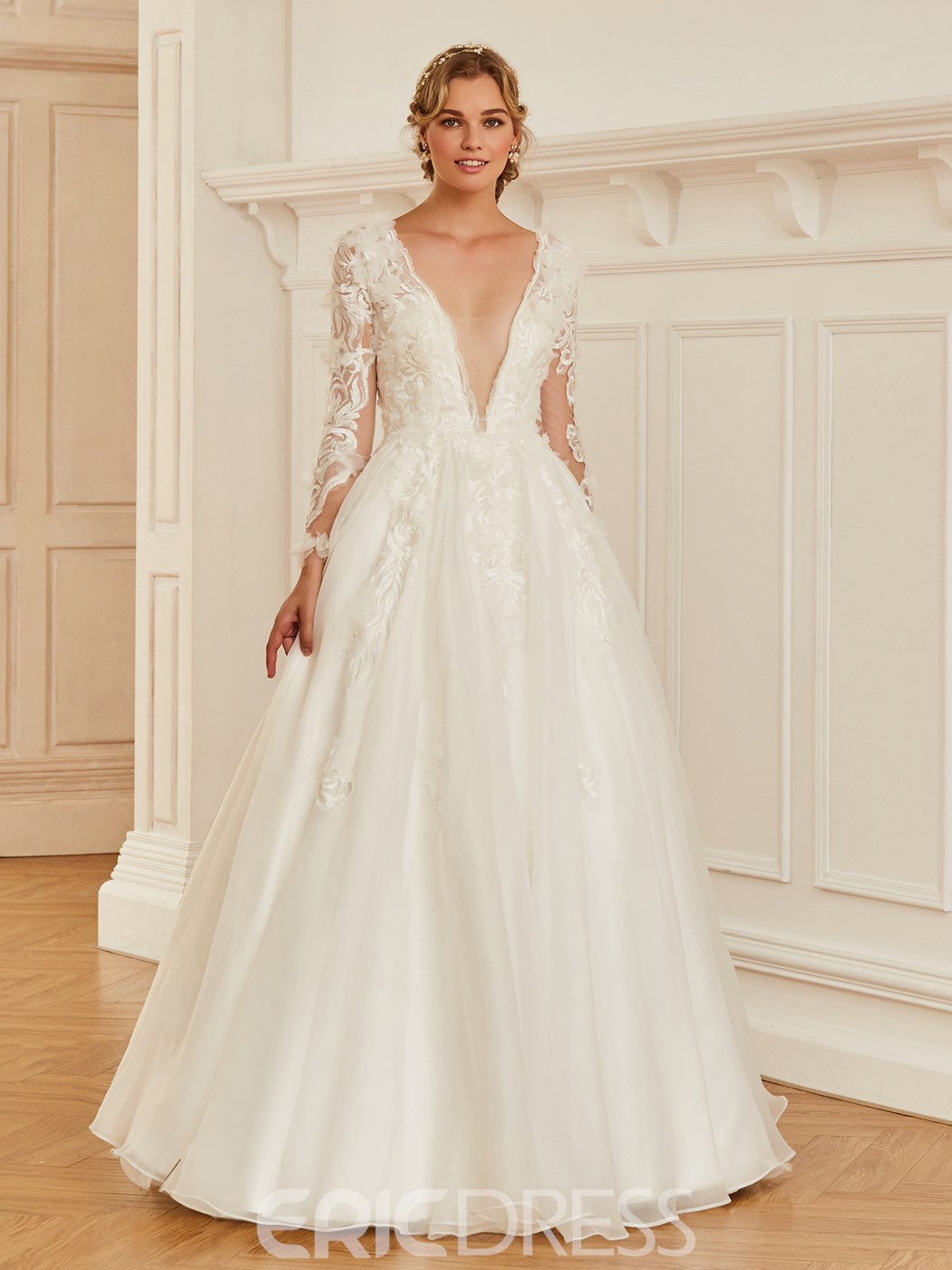 Ericdress V Neck Long Sleeves Ball Gown Wedding Dress 12960189 ...