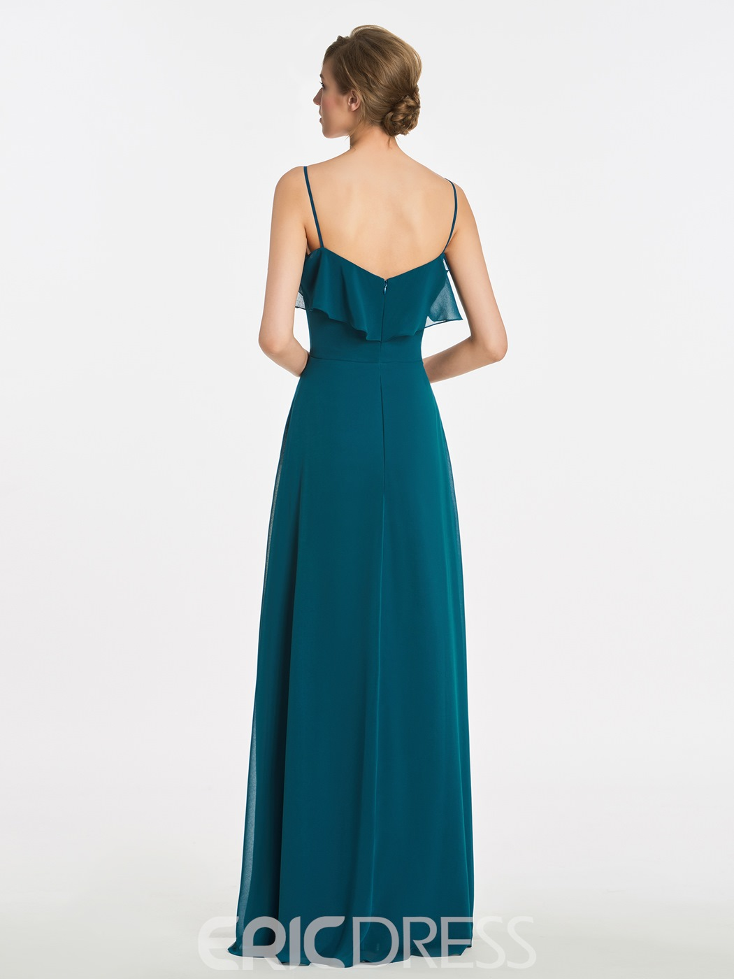 Ericdress Spaghetti Straps A Line Sleeveless Long Bridesmaid Dress