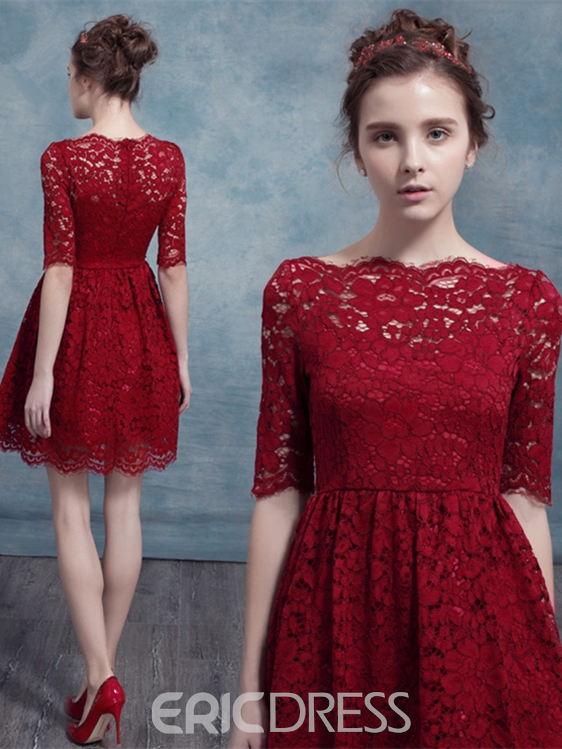 Ericdress A Line Half Sleeve Lace Short/Mini Homecoming Dress