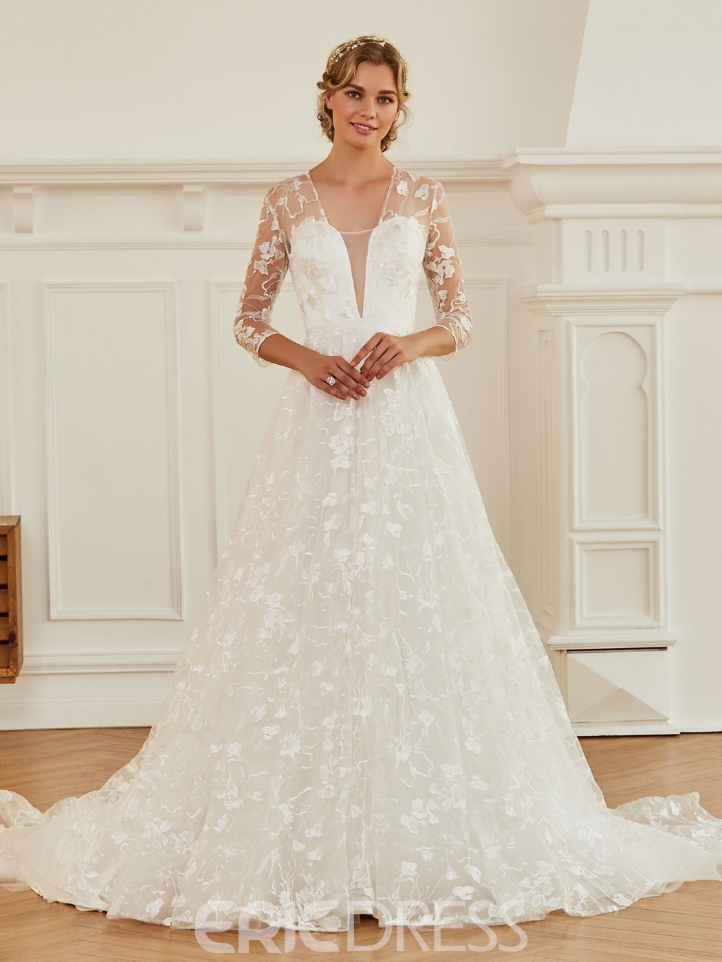 Ericdress V Neck A Line Lace Wedding Dress with Sleeves