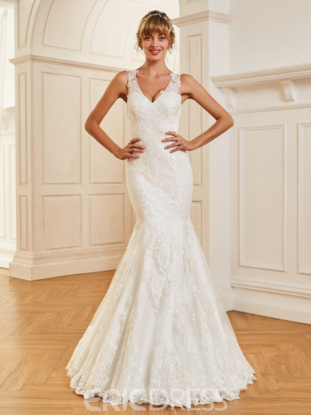 Ericdress V Neck Mermaid Appliques Tulle Wedding Dress