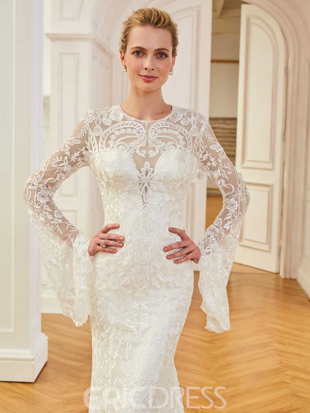 Ericdress Jewel Neck Mermaid Lace Long Sleevs Wedding Dress