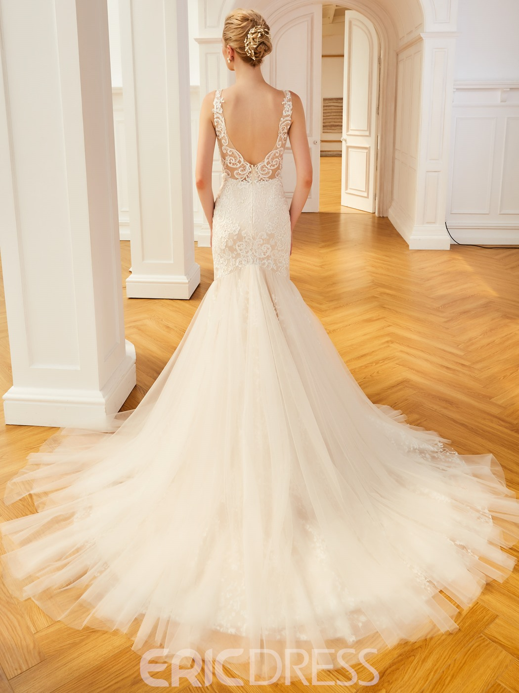 Ericdress V Neck Mermiad Appliques Backless Tulle Wedding Dress