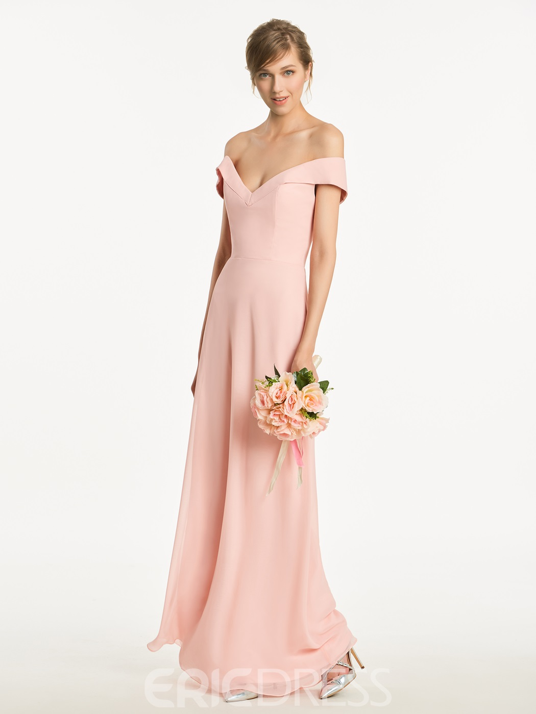 Ericdress Off The Shoulder A LineCriss Cross Straps Long Bridesmaid Dress