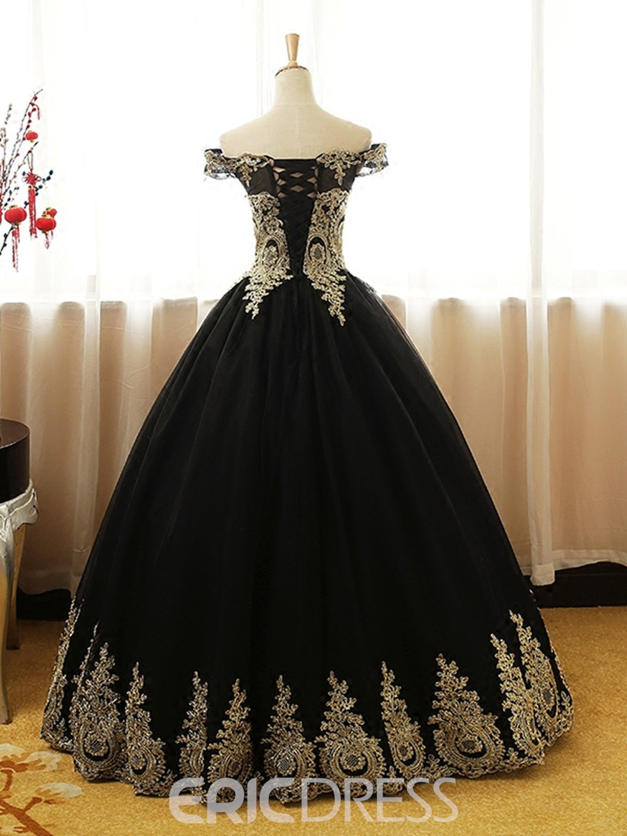 Ericdress Off The Shoulder Applique Ball Quinceanera Gown With Lace-Up Back