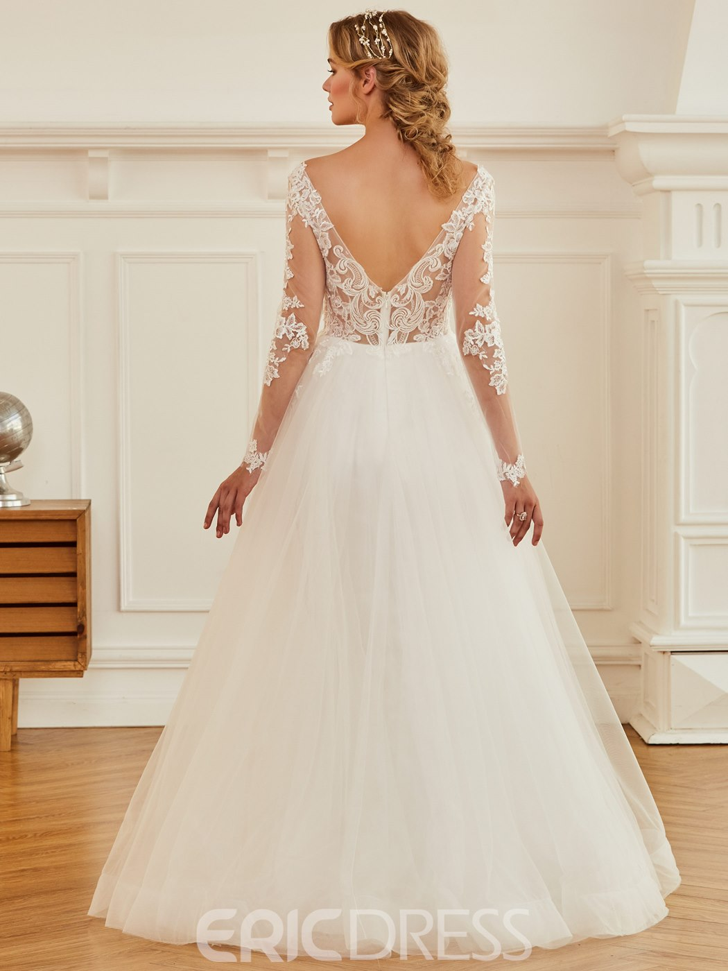 Ericdress V Neck Ball Gown Appliques Long Sleeves Wedding Dress