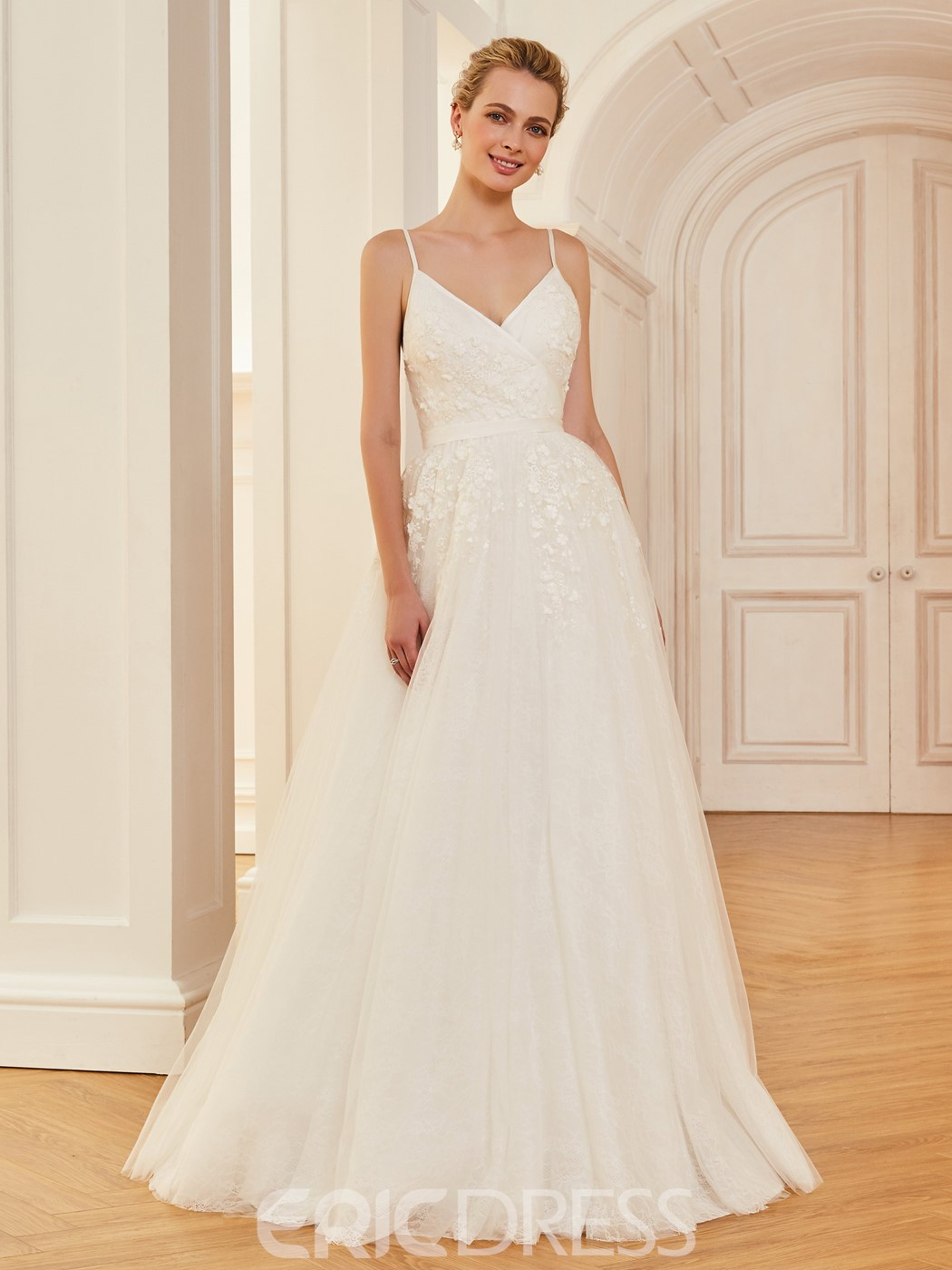 Ericdress Spaghetti Straps Appliques A Line Tulle Wedding Dress ...