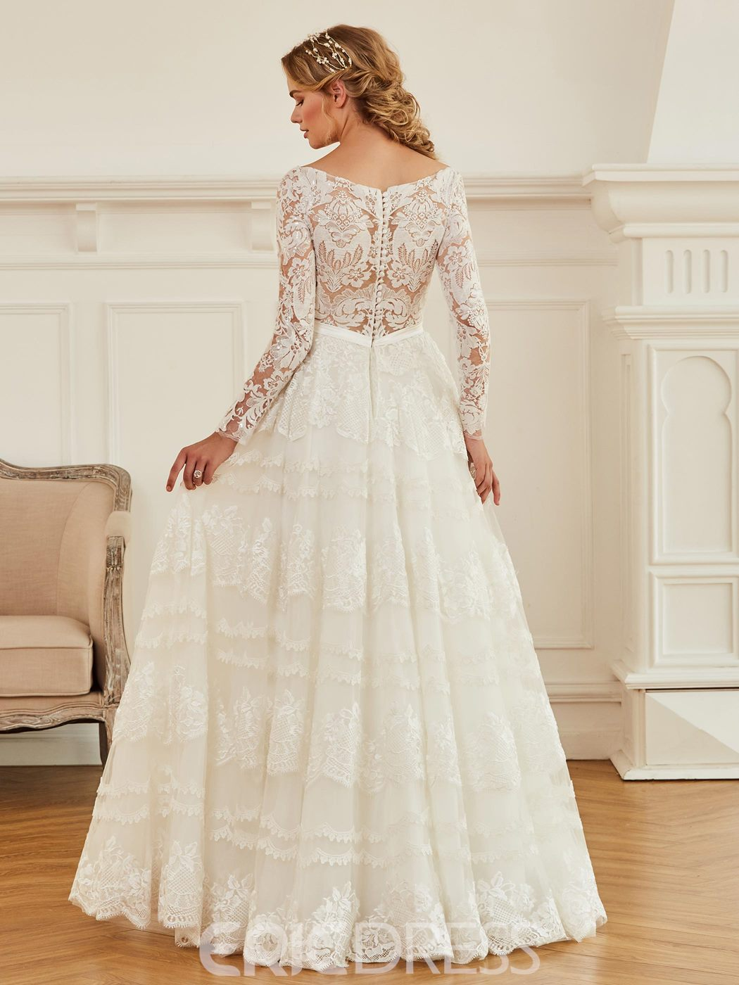 Ericdress V Neck Long Sleeves A Line Lace Wedding Dress