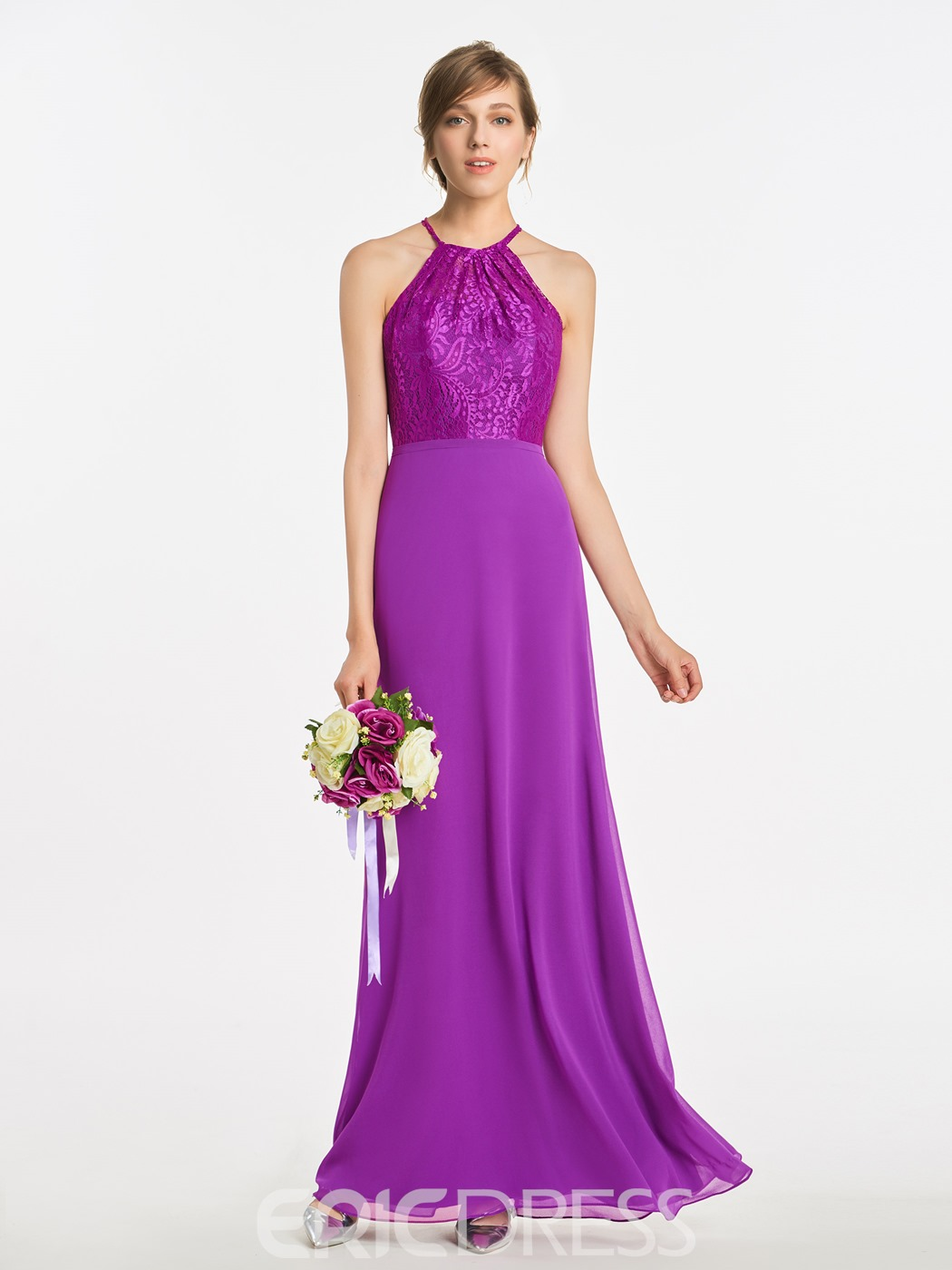 Ericdress Halter A Line Lace Long Backless Bridesmaid Dress