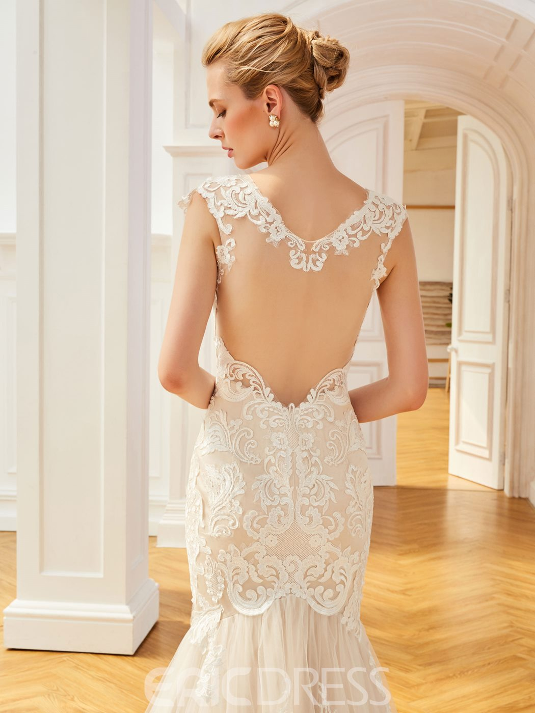 Ericdress V Neck Cap Sleeves Appliques Mermaid Backless Wedding Dress