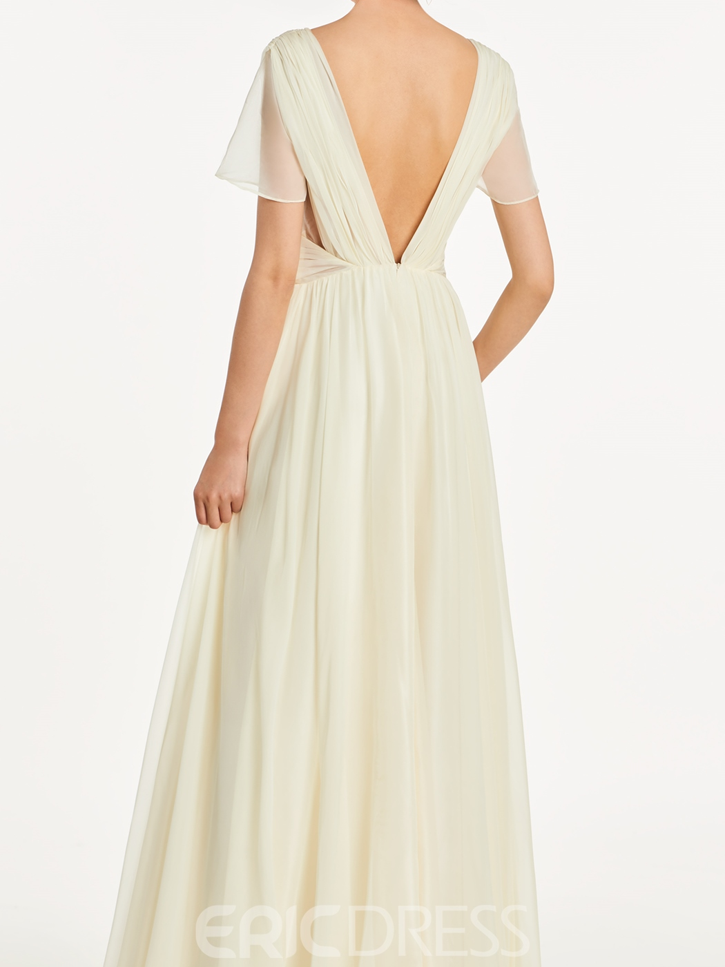 Ericdress V Neck Short Sleeves A Line Backless Bridesmaid Dress