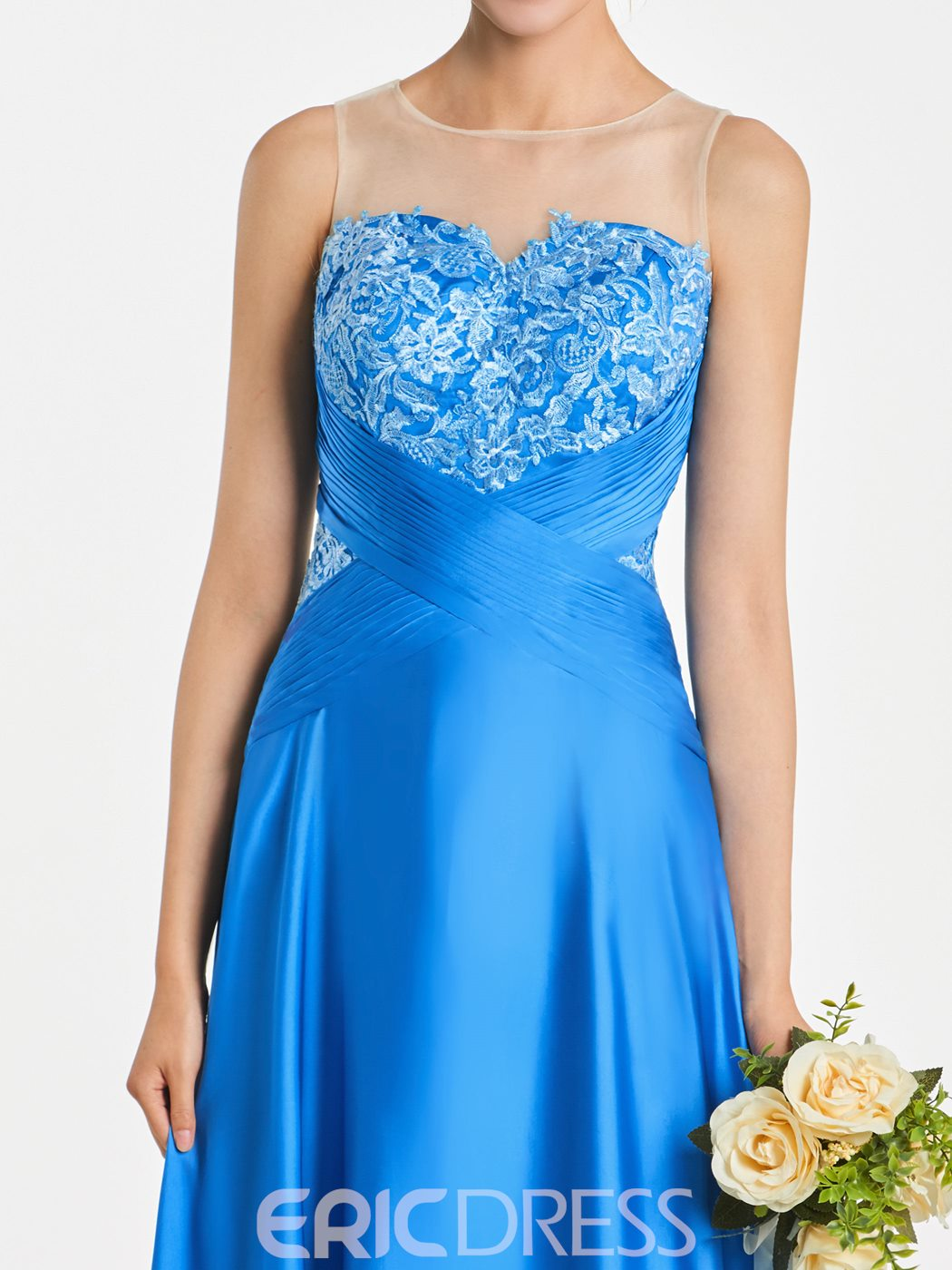 Ericdress Illusion Neckline Appliques A Line Long Bridesmaid Dress