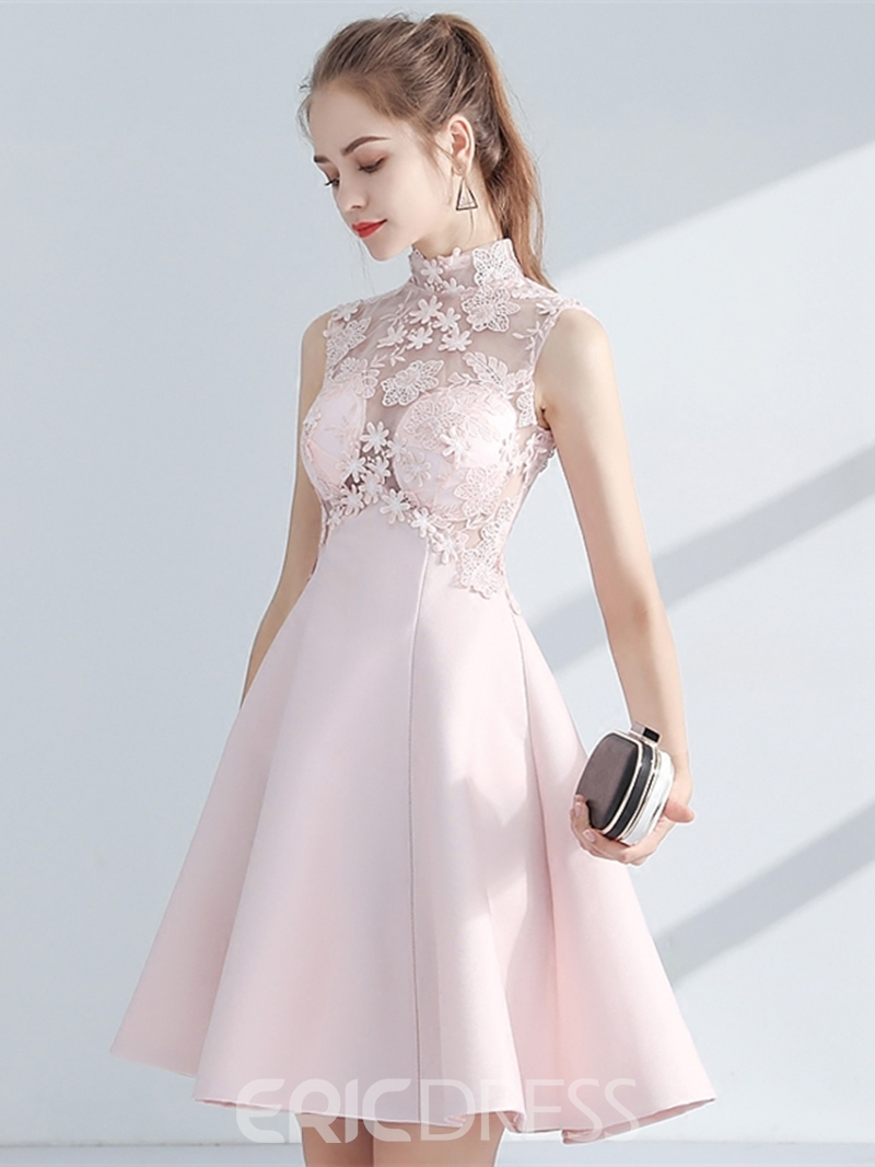 Ericdress A-Line Empire High Neck Appliques Lace Homecoming Dress