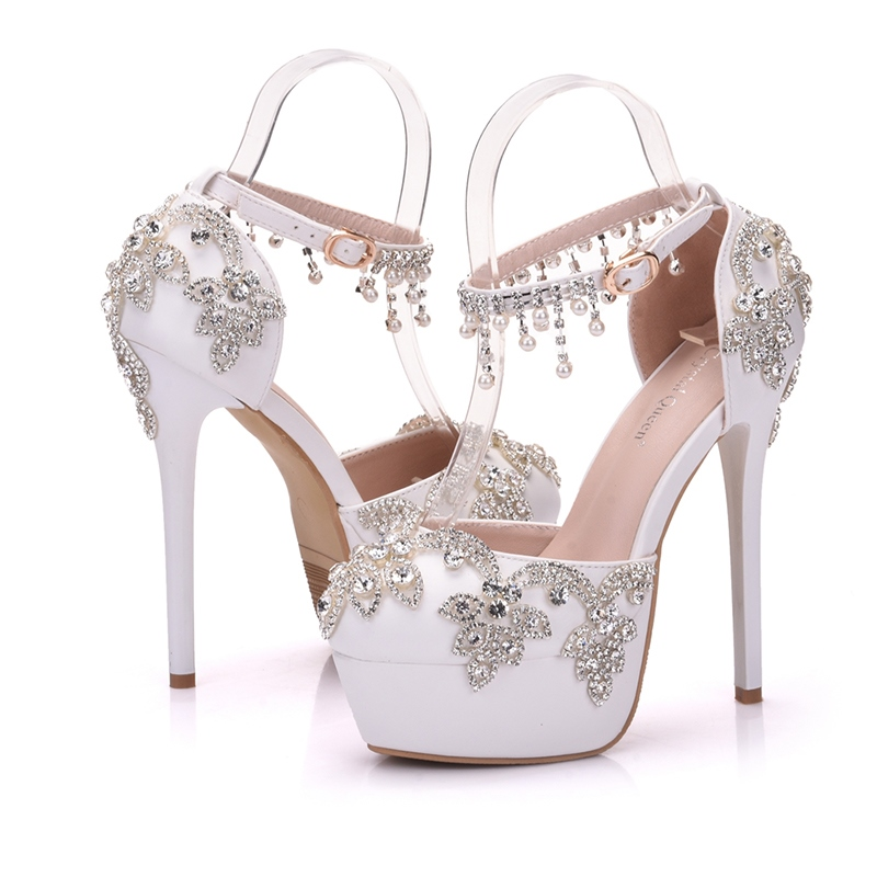 Ericdress Rhinestone Platform Buckle Stiletto Heel Wedding Shoes