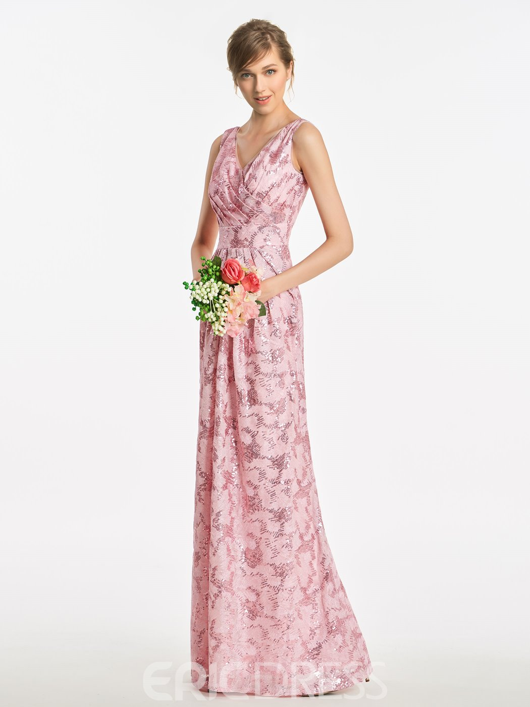 Ericdress V Neck A Line Long Pink Sequins Bridesmaid Dress