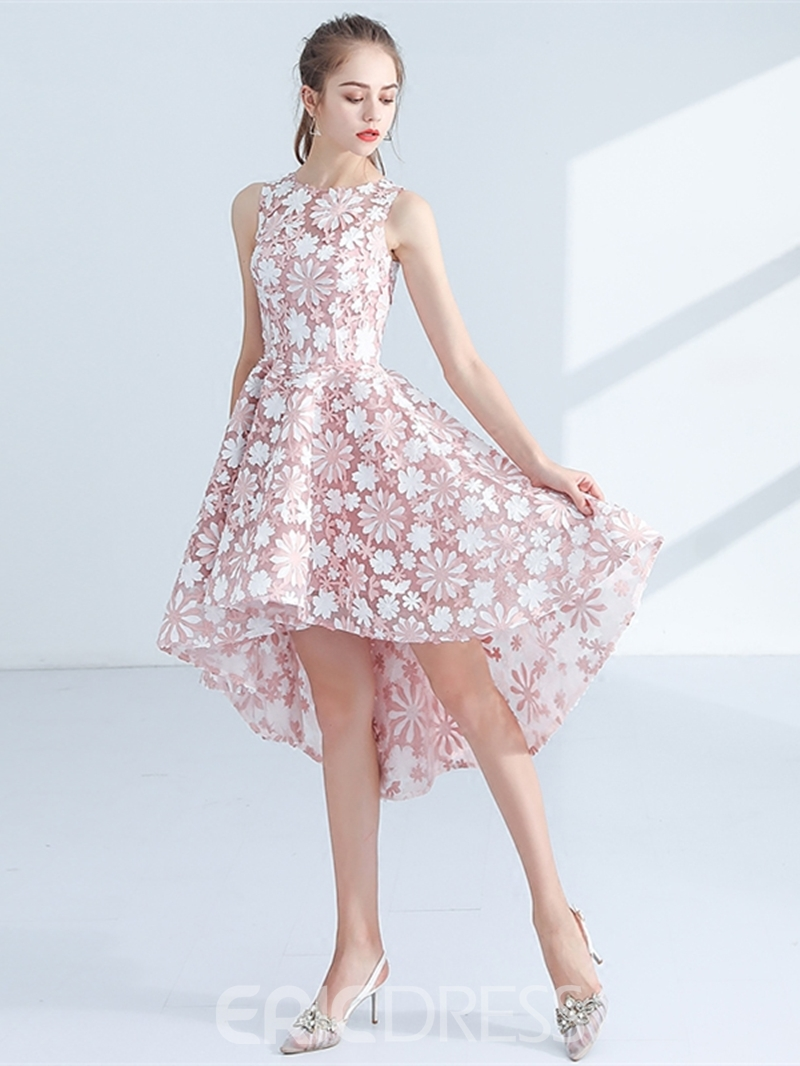 Ericdress A-Line Lace Jewel Asymmetry Zipper-Up Homecoming Dress