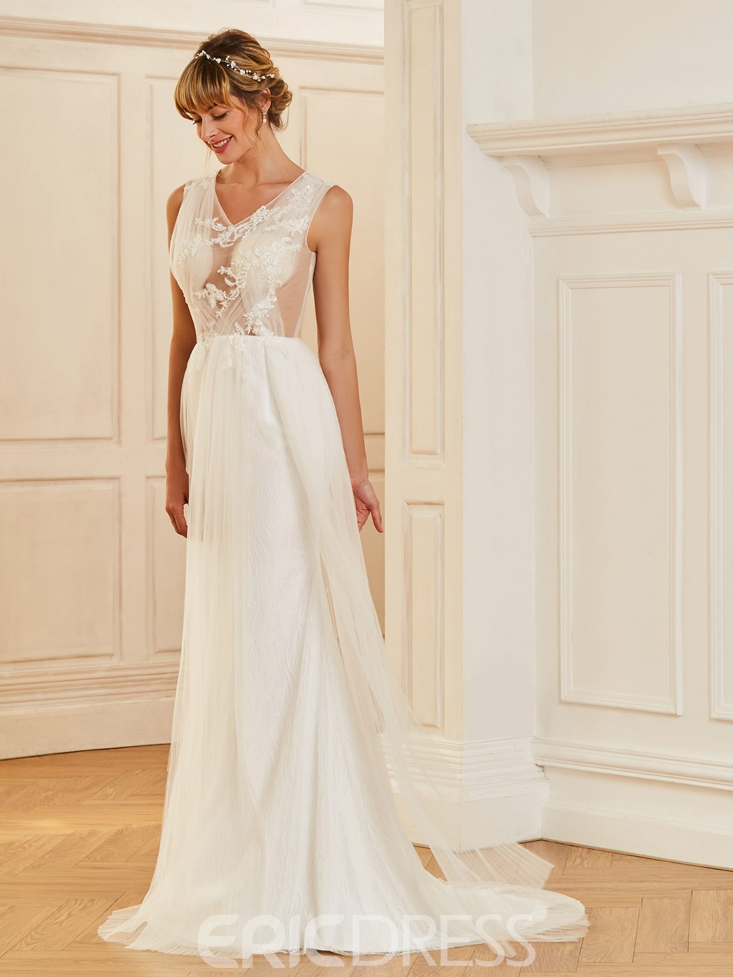 Ericdress Sexy V Neck A Line Appliques Tulle Summer Wedding Dress