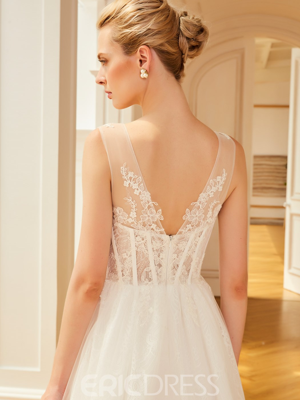 Ericdress Sexy V Neck A Line Appliques Court TrainTulle Wedding Dress