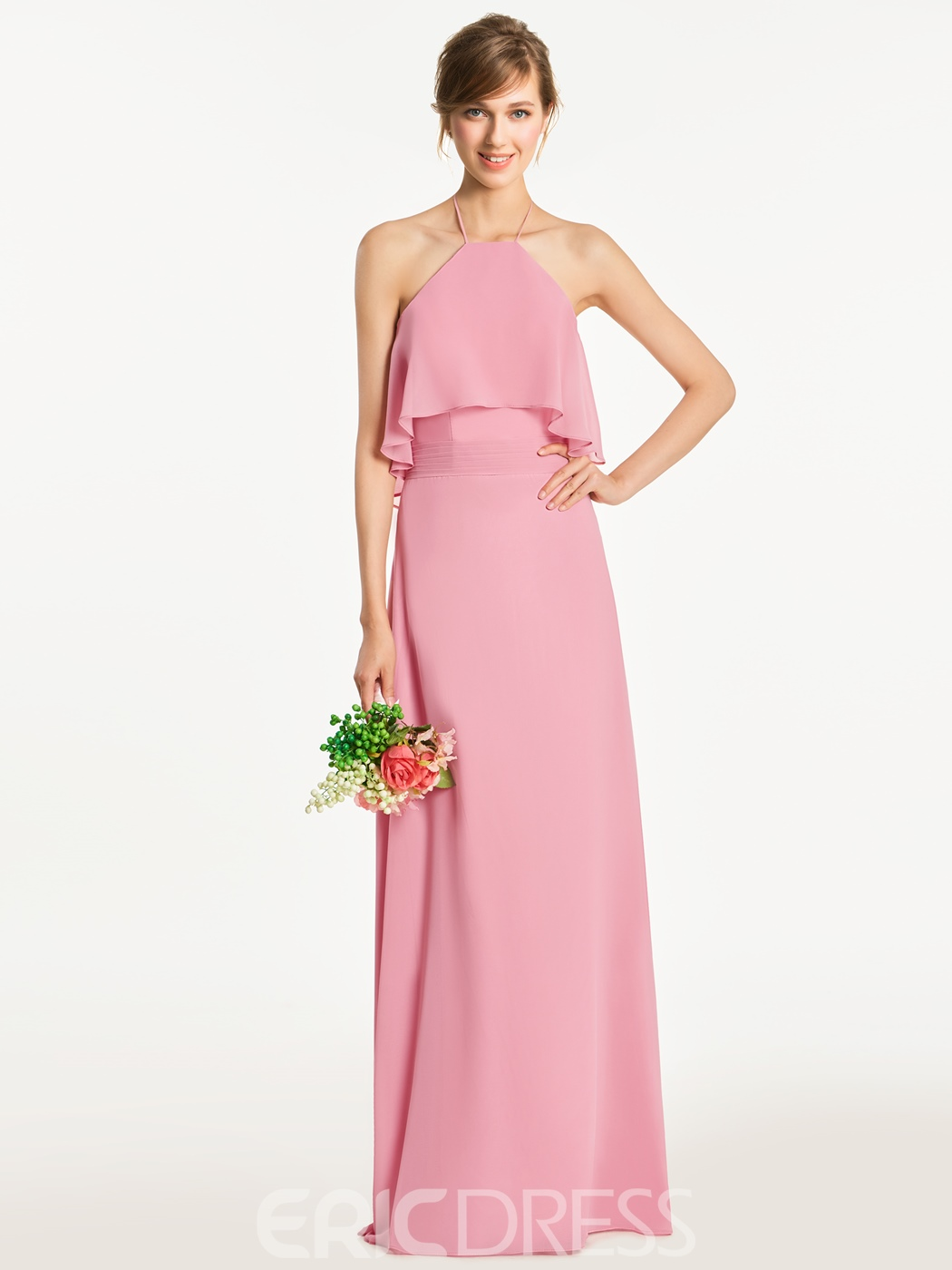 Ericdress Halter A Line Backless Long Bridesmaid Dress