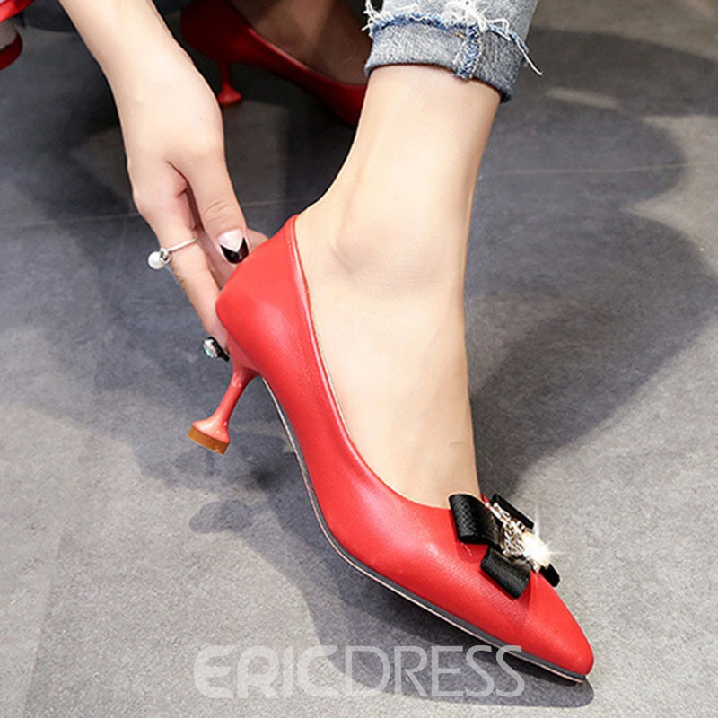 Ericdress Animal Plain Slip-On Women's Pumps with Bowknot