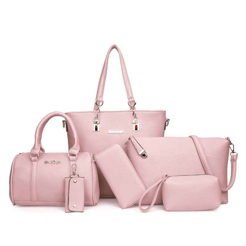 Ericdress Trendy Well-Match Solid Color Handbag (6 Bags Set)