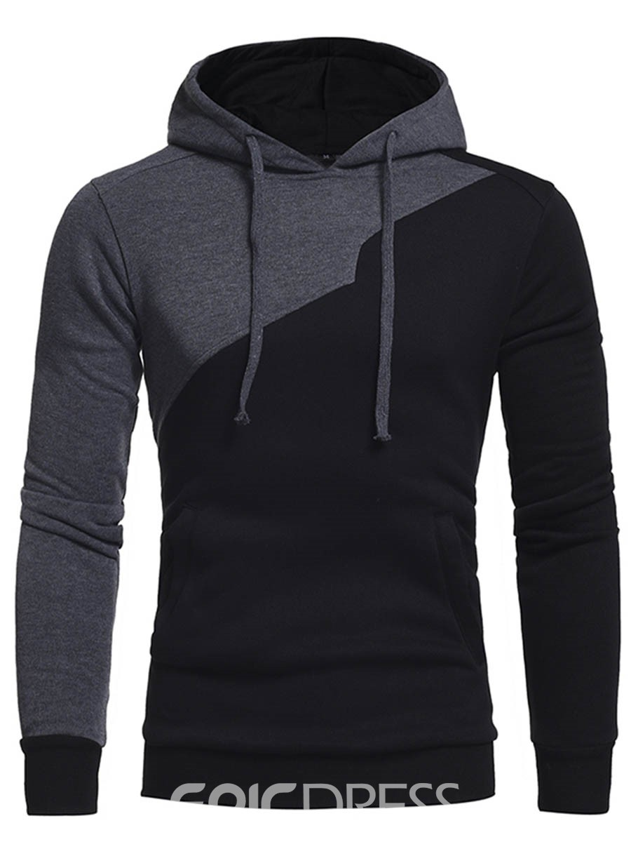 Ericdress Hooded Slim Color Block Men's Pullover Men's Hoodie