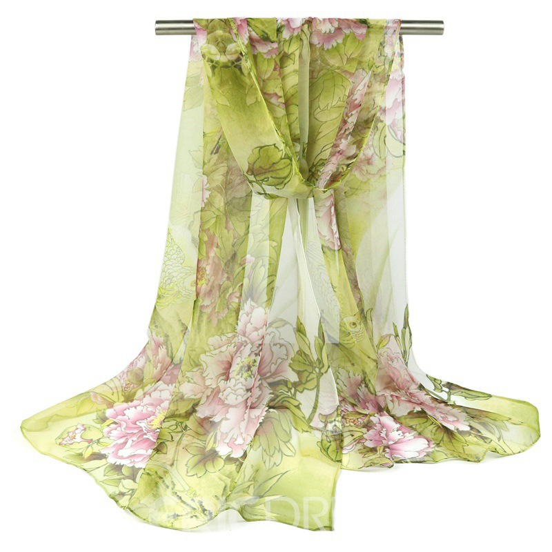 Ericdress Peony Printed All Match Imitated Silk Fabric Scarf