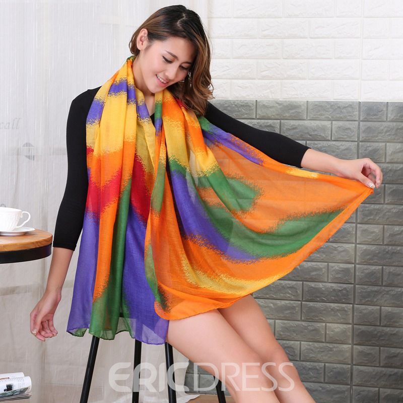 Ericdress Rainbow Printed Voile All Match Women's Scarf
