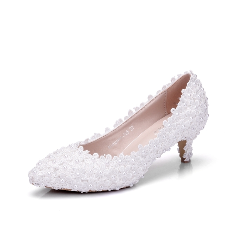 Ericdress Appliques Slip-On Plain Stiletto Heel Wedding Shoes with Beads