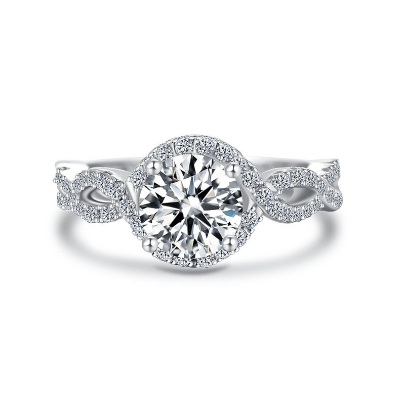 MarkChic Best Seller Round Cut White Sapphire Twisted Wedding Ring