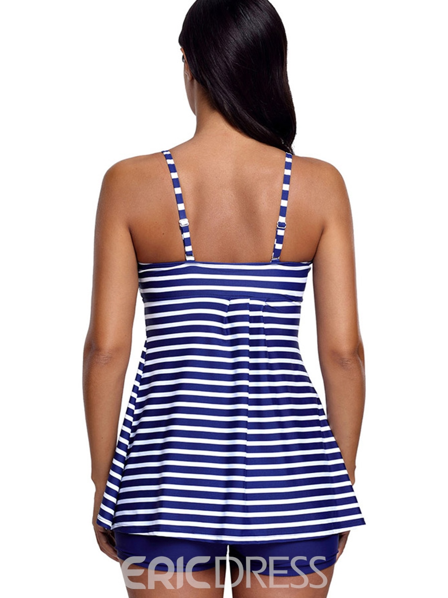 Ericdress Stripe Conservative Boyshorts Tankini Set