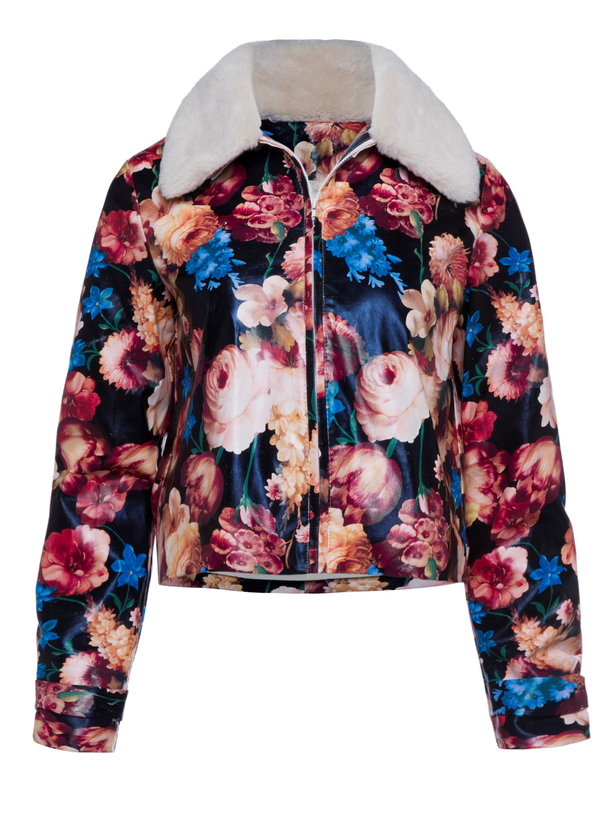 Ercdress Wide-Lapel Color Block Floral Print Jacket