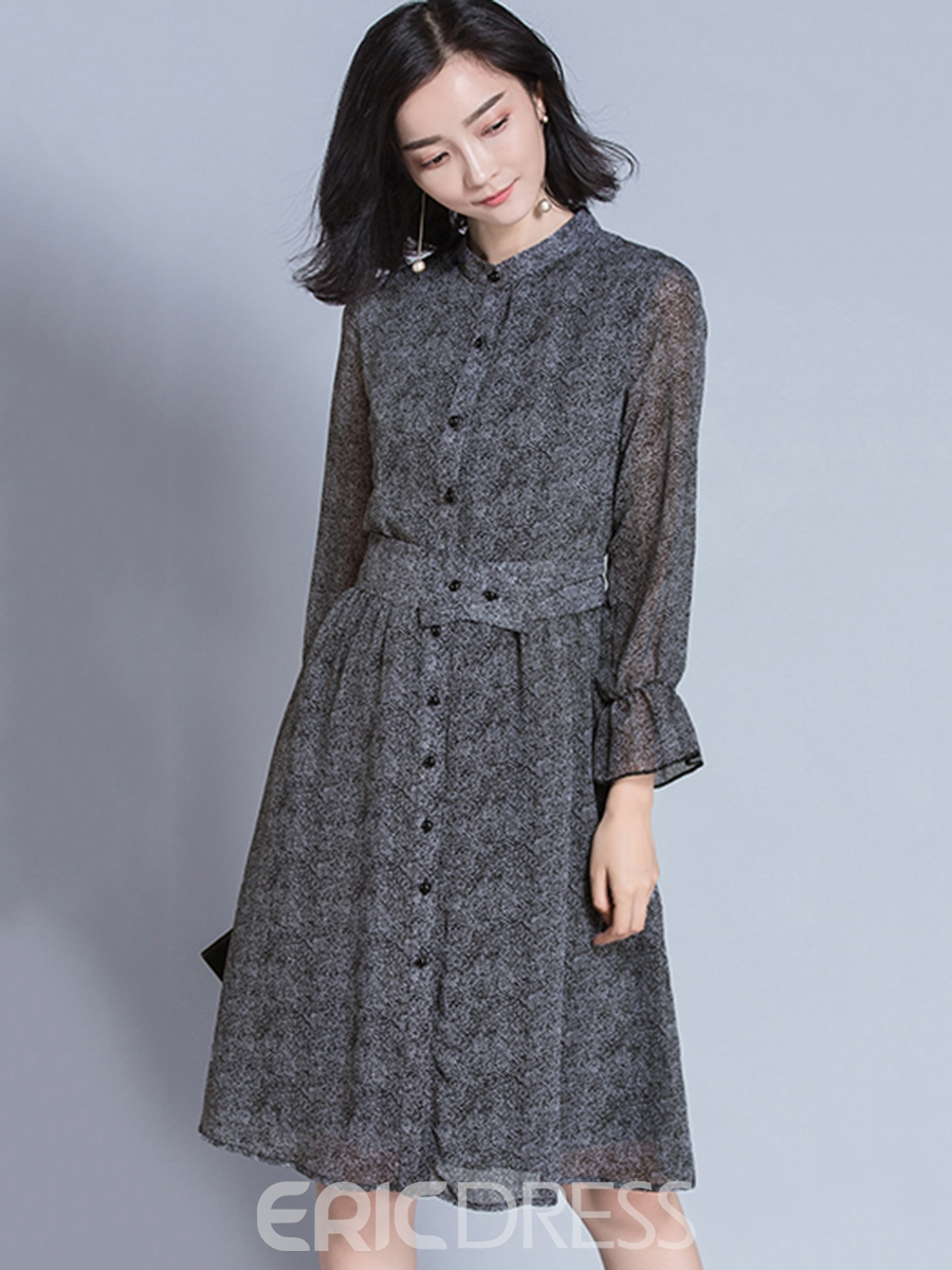Ericdress Mesh Patchwork Single-Breasted Pleated A Line Dress