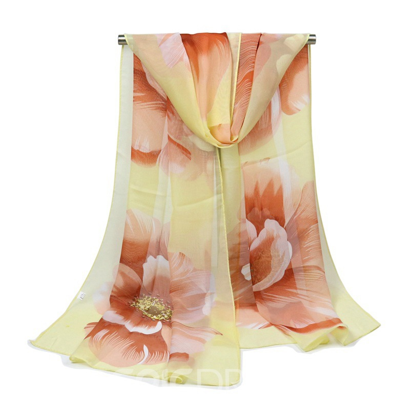 Ericdress All Match Chiffon Flower Print Long Scarf for Women
