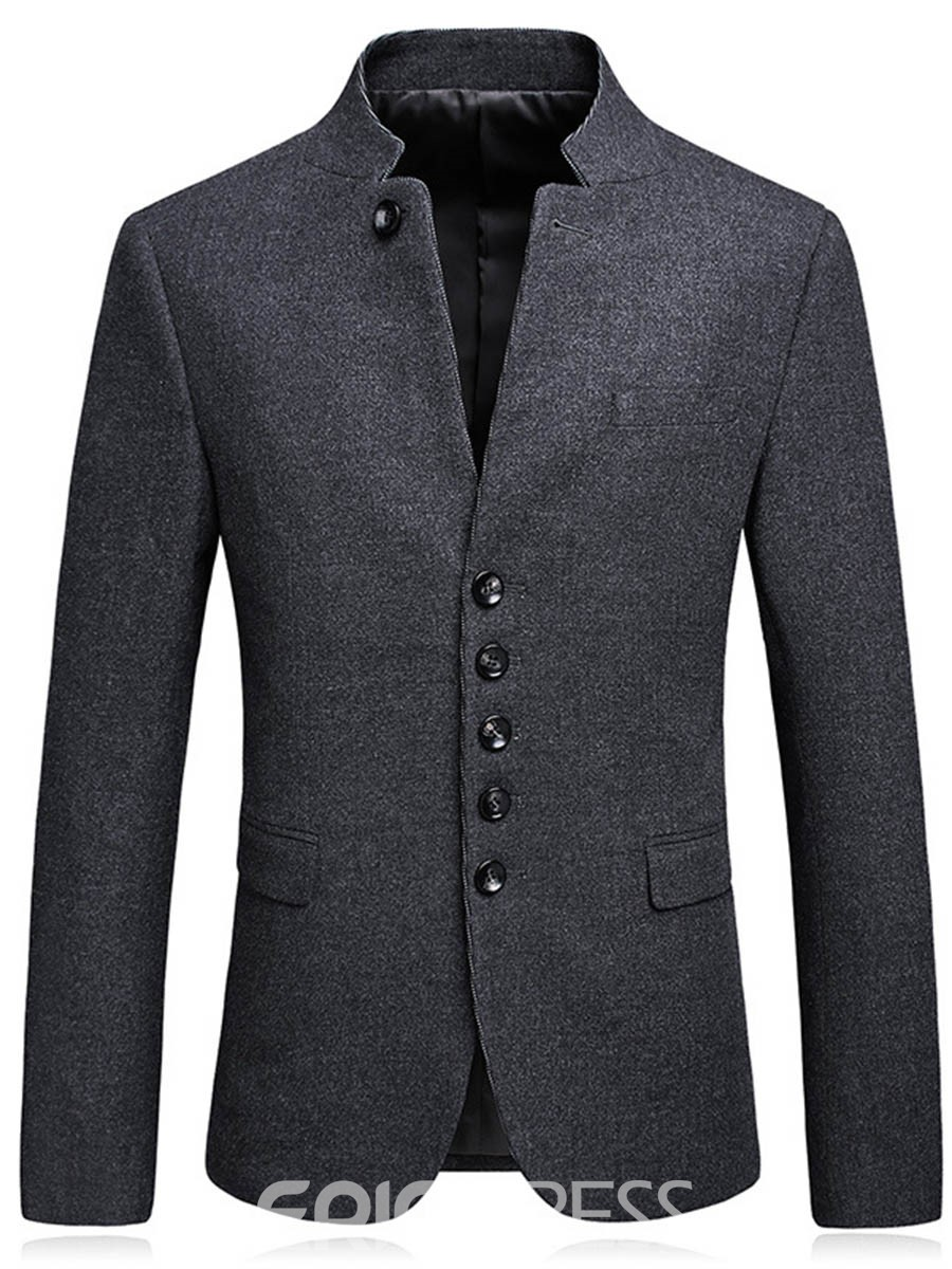 Ericdress Plain Stand Collar Single-Breasted Quality Men's Blazer
